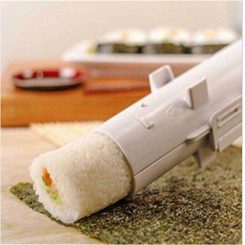 Lalang Sushi Bazooka Appareil à sushis et makis à piston Outil à sushi Sushi maker, Blanc