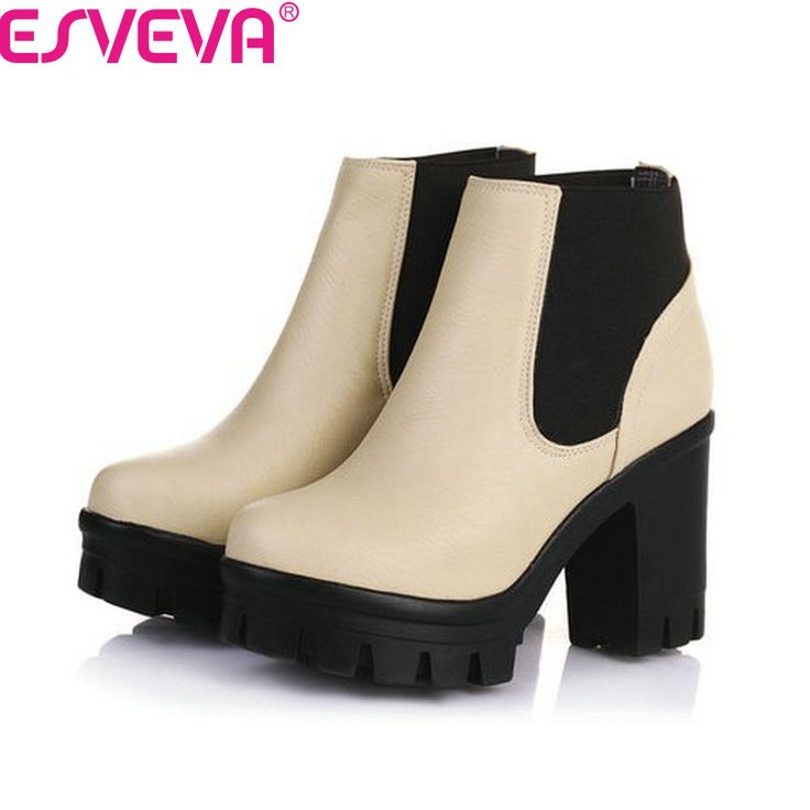 ESVEVA New Arrival Fashion Thick High Heels Boots Women Platform Slip On Hot Sale Motorcycle Mixed Color Winter Snow Shoes Black #CLICK! #clothing, #shoes, #jewelry, #women, #men, #hats, #watches