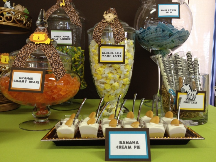 Zoo Themed Baby Shower Ideas Part - 41: Safari / Jungle Theme Baby Shower Candy Table By OC Sugar Mama