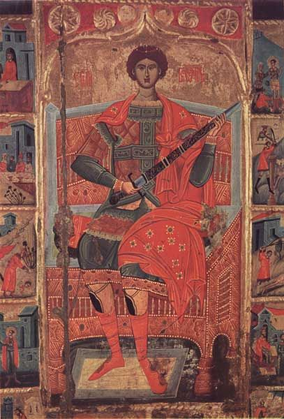 The icon of Saint George with scenes from his life. XVII century. Pec, Treasure of the Patriarchate.