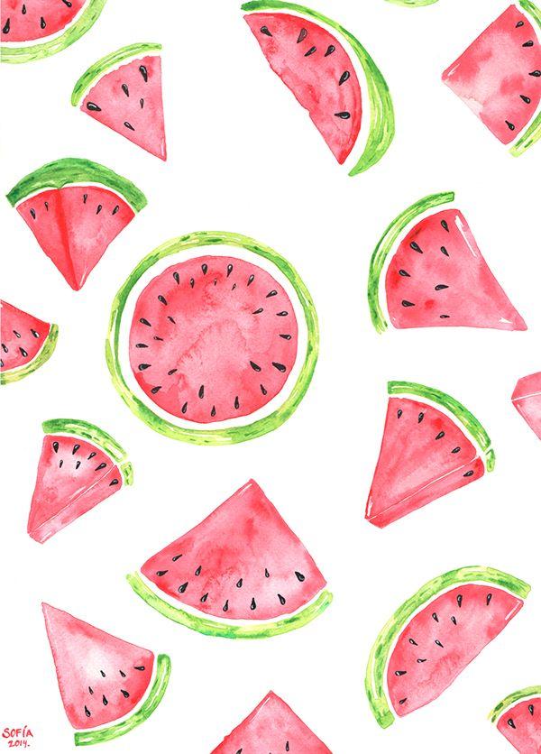 Sommer, Sommer, Sommer! Ich liebe Wassermelonen und dieses Wasserfarben-Bild macht richtig Lust auf einen frischen Snack!