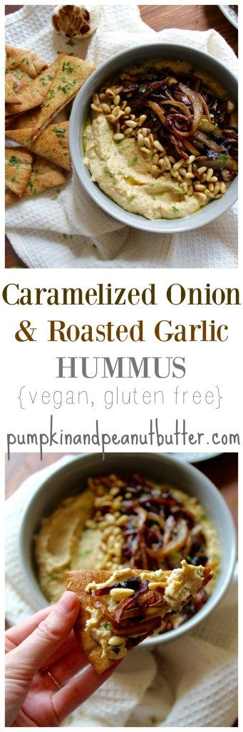 Caramelized Onion & Roasted Garlic Hummus {vegan, gluten free} // pumpkin & peanut butter