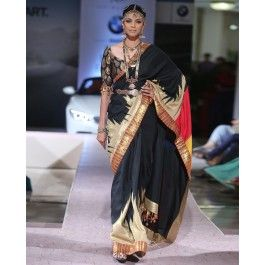 Black Sari with Multicolored Pallu