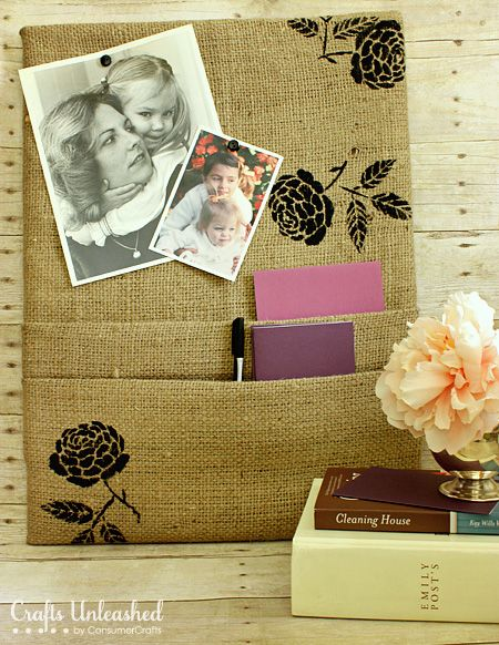 Burlap Covered DIY Cork Board love how they put the pockets on it