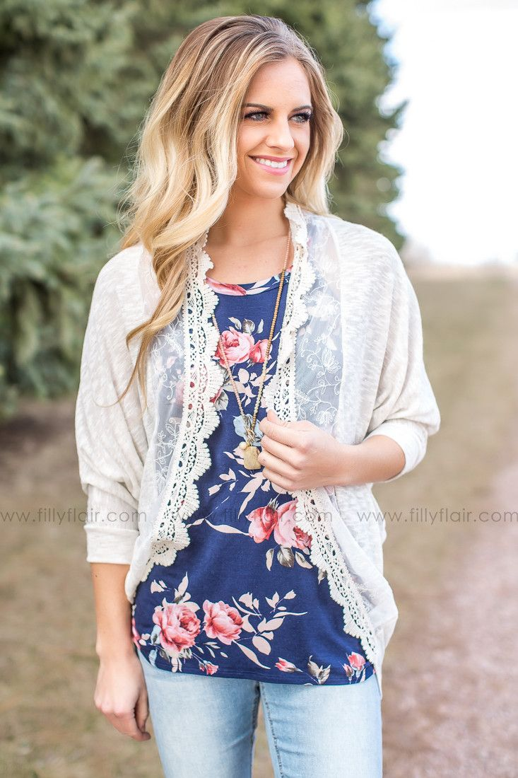 All Simplicity Ivory Lace Crochet Trim Cardigan – Filly Flair