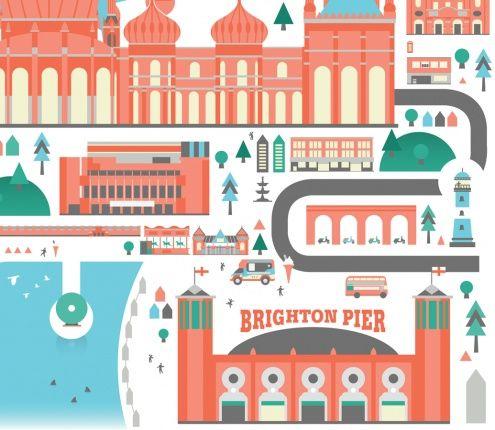 Crush | Brighton City Poster Buildings & Cities Illustration