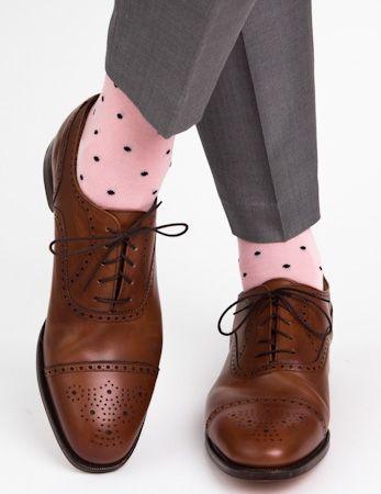 Dapper Classics Pink with Navy Polka-Dot Mid-Calf Linked Toe Sock #mens #pink…