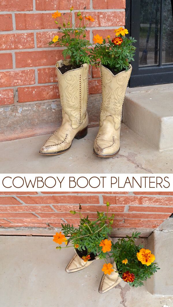 A sweet, rustic addition to your front porch with these cowboy boot planters. Looks like boots have been left on the porch overnight!