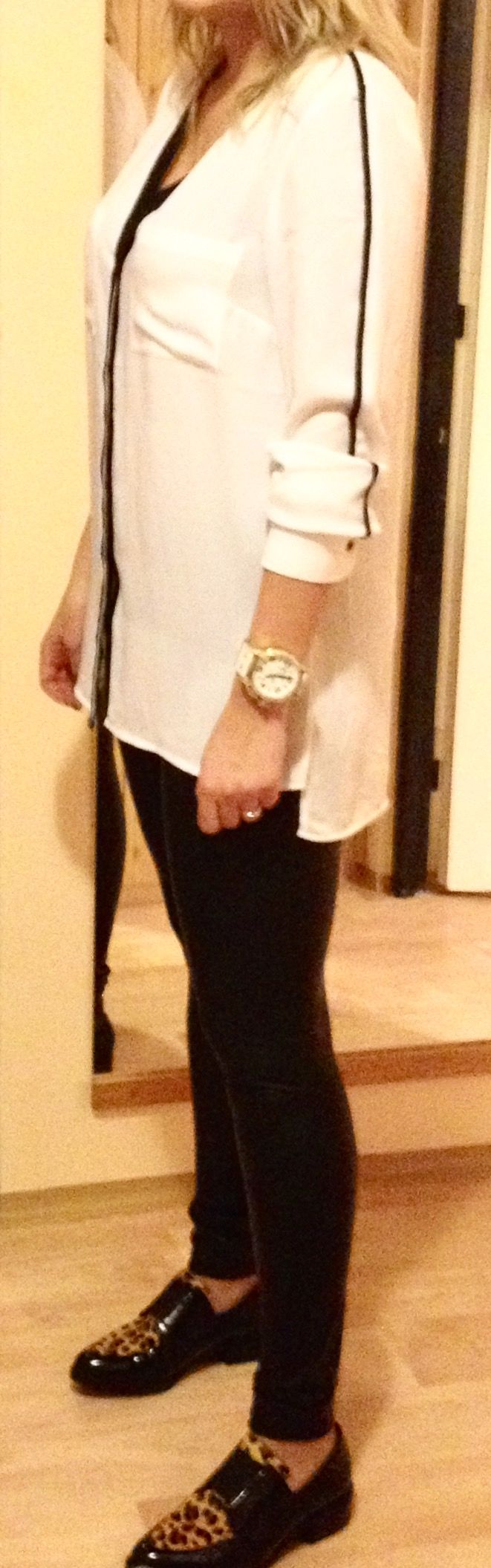 Oversize shirt with leather leggins and leopard patherns mocassin  Jet Set LA Watches