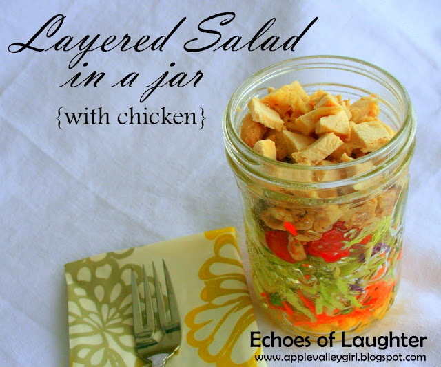 Echoes of Laughter: Layered Salad In a Jar...great to take to work on the weekends: Fun Lunches, Salad In Jars, Layered Salad, Chicken Salad, Salad Jars, In A Jars, Lunches Ideas, Jars Great, Mason Jars