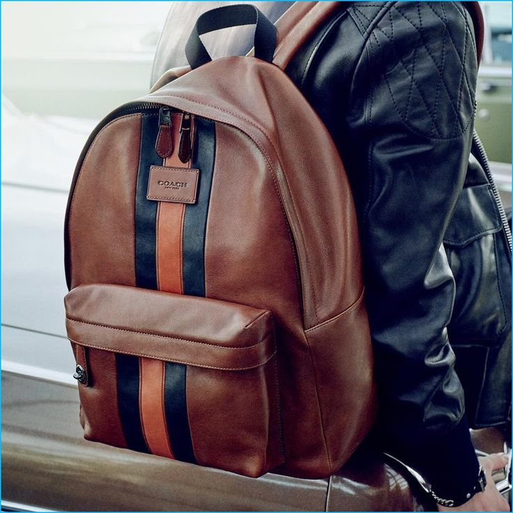 Coach fall-winter 2016 men's advertising campaign featuring the brand's varsity leather backpack.