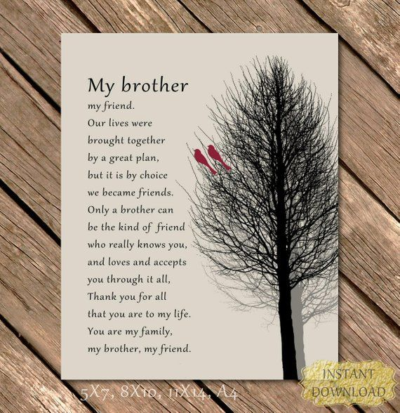 Brother Gift Editable Personalized Picture Printable Art