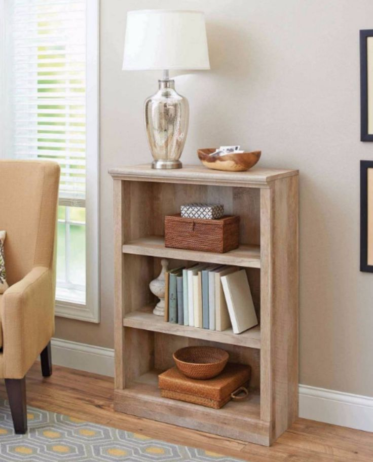 Small Bookshelf Ideal Vertical Mini Wooden Wall Book Storage Unit Weathered Oak #BetterHomesandGardens #Traditional