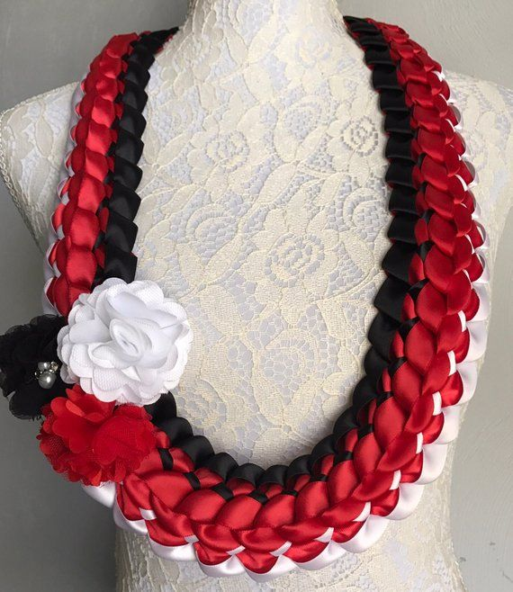 Graduation Lei Red Black and White Lei Satin Ribbon Lei School Spirit Lei Hawaiian Lei Bridal Lei- D