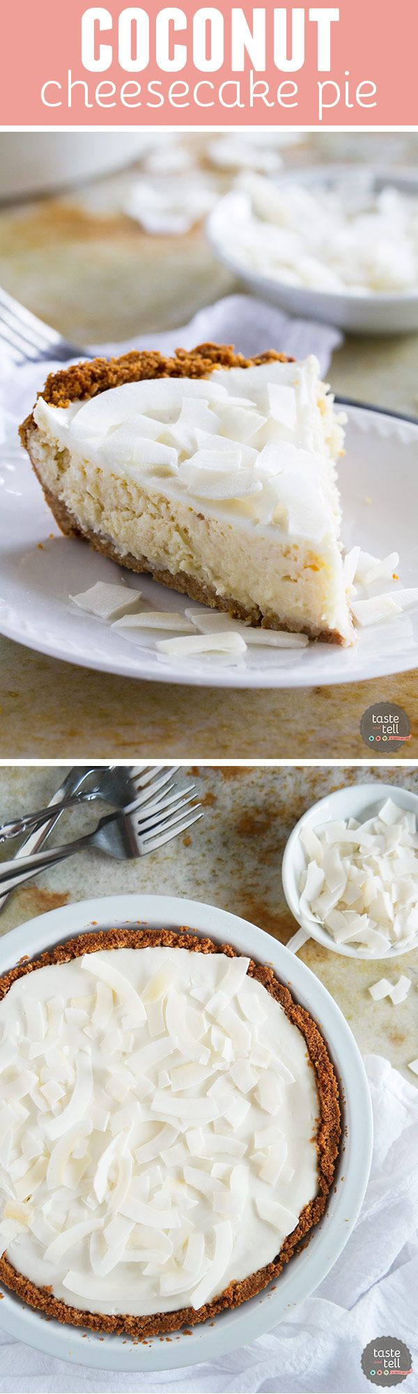 Creamy and coconutty, this Coconut Cheesecake Pie is the perfect dessert for…: