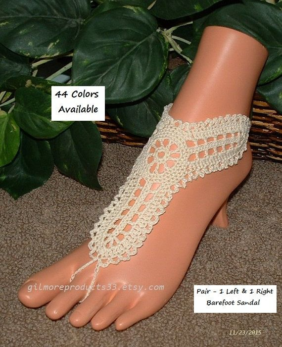 Gorgeous crochet women's foot jewelry.  These barefoot sandals make great body jewelry for bridesmaids.  Being hippie boho toe anklets these toe sandles are sure to please.... #etsy #bride