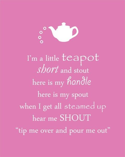 I'm a little teapot. Nursery Rhyme, Color options 8 x 10 Print on Etsy