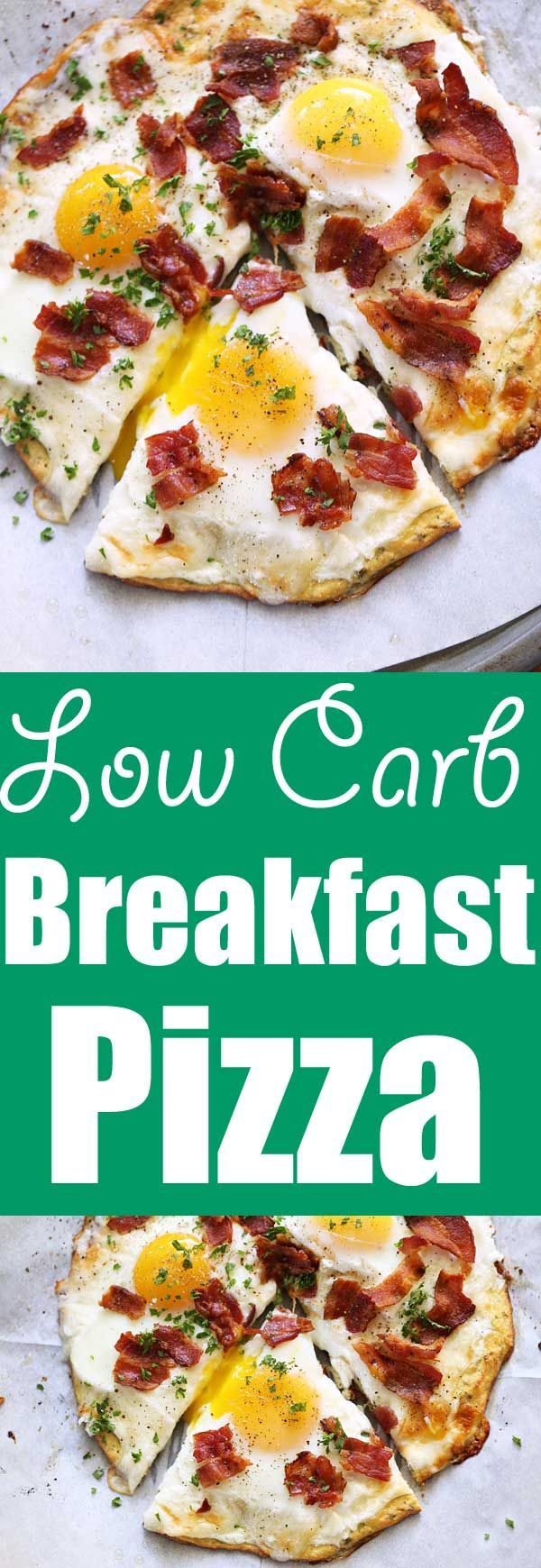 This low carb breakfast pizza is made with a delicious, cheesy coconut flour crust. Add cheese, eggs and bacon, and you've got yourself the perfect low carb breakfast pizza! via @healthyrecipes
