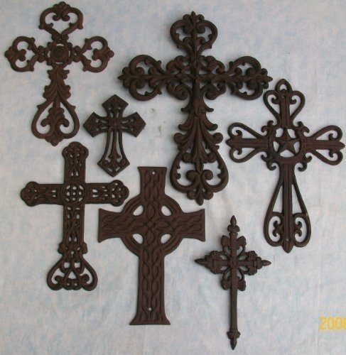 SET OF RUSTIC CAST IRON CROSSES THESE NEW CROSSES ARE LIGHT TO DARK BROWN.