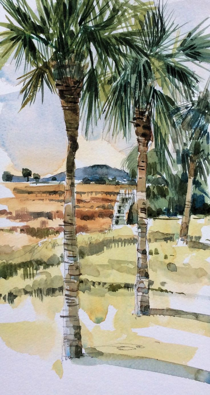 Watercolor artist magazine palm coast fl - Looking Out At Dusk Towards Folly Island I See Herons And Egrets Flying Low Over Salt Marshwatercolor Landscapewatercolor Artthe
