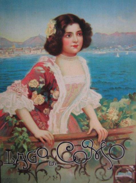 Girl on balcony, Lake Como vintage poster