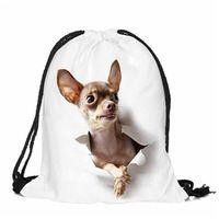 Women Drawstring 2017 Backpack dog Pattern Oxford String Shoulder Bags Rucksack Sack Bag Student Vintage School bag Mochila