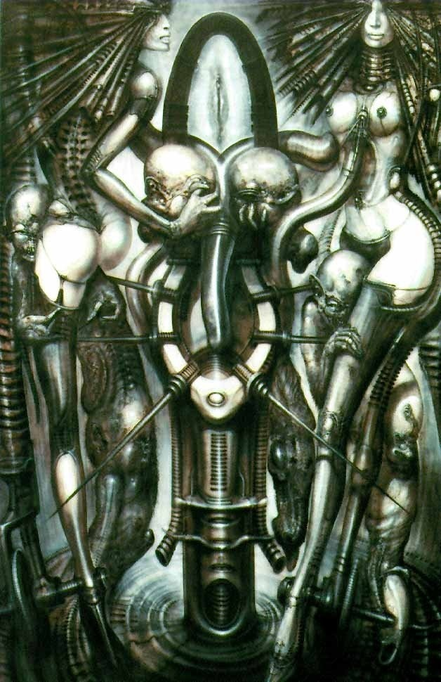 H.R Giger's print of witches dance.
