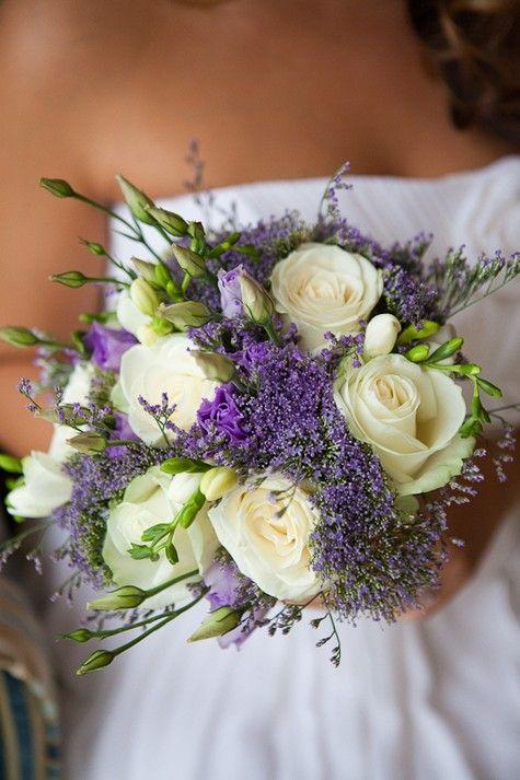 white roses & lavender bouquet