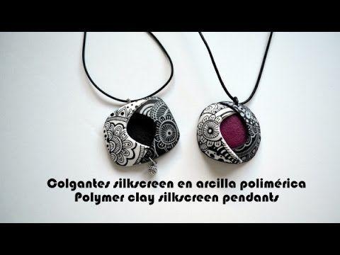 Colgantes silkscreen en arcilla polimérica - Polymer clay silkscreen pendants - YouTube
