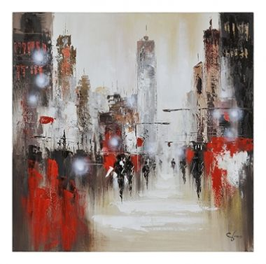 Windy Day is a hand-painted abstract city image with a bold coloration of crimson, natural taupes and black.