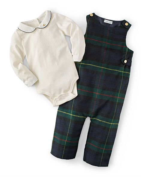 Tartan Wool-Blend Overall Set - Newborn 0 - 9 Months BABY BOY - Ralph Lauren France