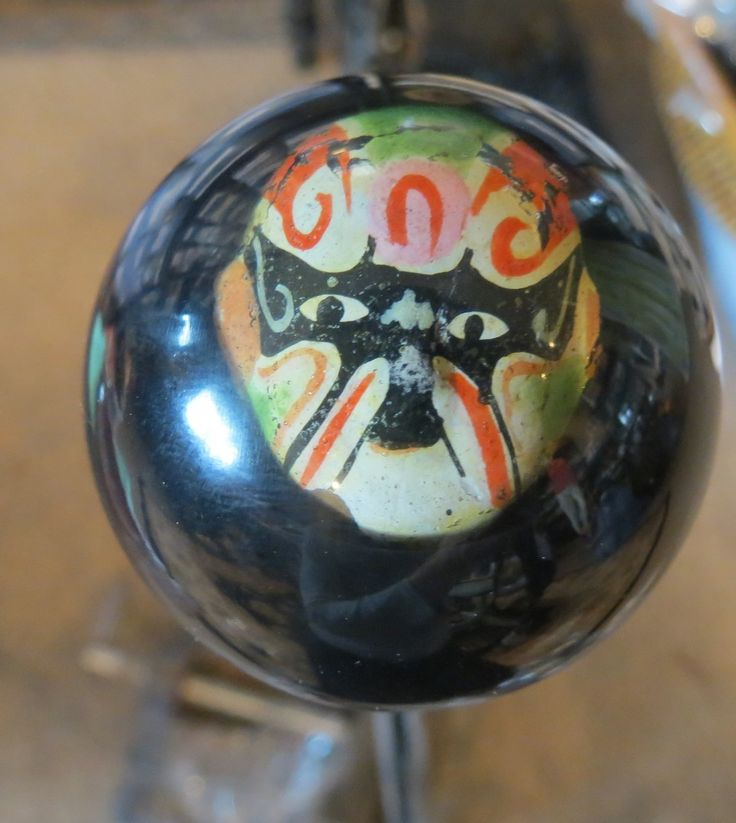 Vintage Painted Noh Japanese Wrestling Mask Shift Knob - HouseOspeed - Hot Rod Shift Knob