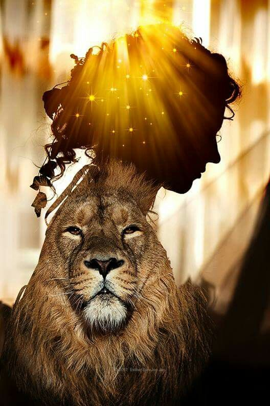 Lion of Judah with Bride of Christ bowing her head in reverence. Prophetic art.