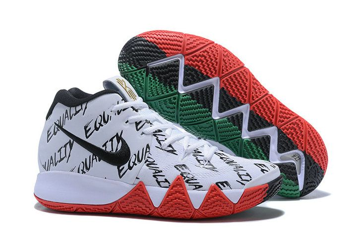 best sneakers f3018 ae11f Mens Nike Kyrie 4 BHM Equality White Green Red Basketball Shoes