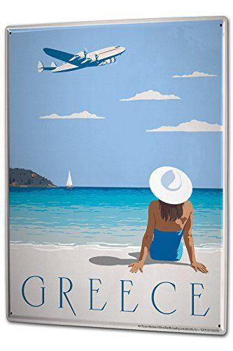 awesome Cartel Letrero de Chapa XXL Trotamundos Grecia mujeres playa del traje de baño de aeronaves