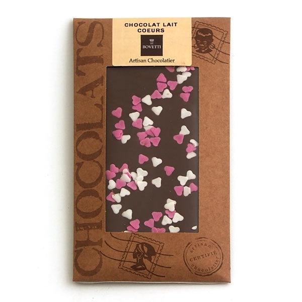 Bovetti chocolats - Tablette chocolat au lait coeurs