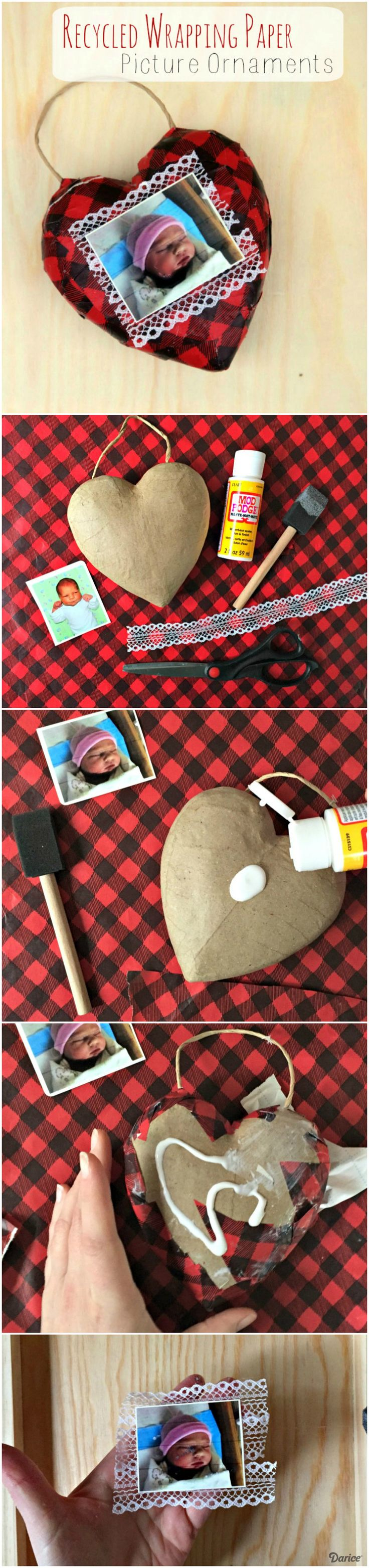 Plaid monograms natural wood ornaments feathers and i couldn t - Diy Picture Ornaments Made With Recycled Wrapping Paper