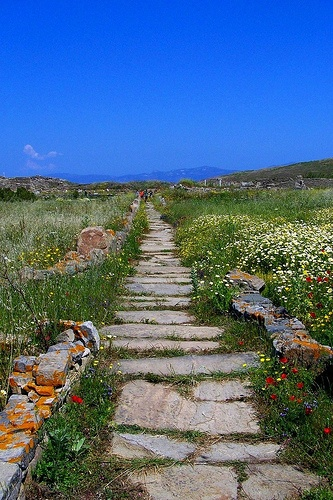 ancient Greek road, Island of Delos.
