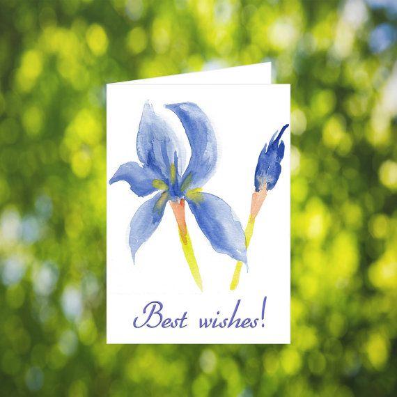 Printable Best Wishes Card: Watercolor Iris Card  by LeavesOfPaper
