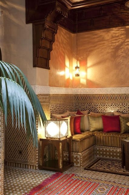 A Cozy Moroccan Living Room Corner Saturated With Gorgeous Traditional  Patterns.