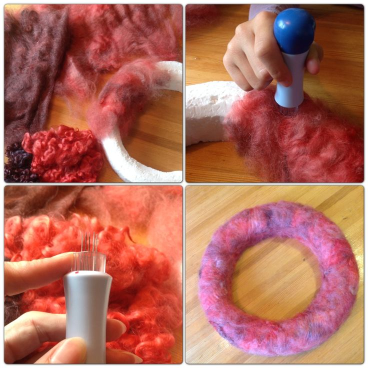 DIY autumn/fall wreath with felted sheeps wool