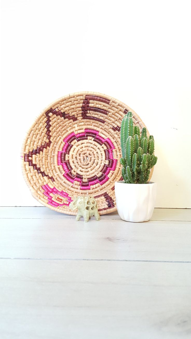 Vintage Coil Basket/Bowl Hot Pink Mexico Souvenir, Souvenir Basket From Mexico by LUCKYHOMEFINDS on Etsy