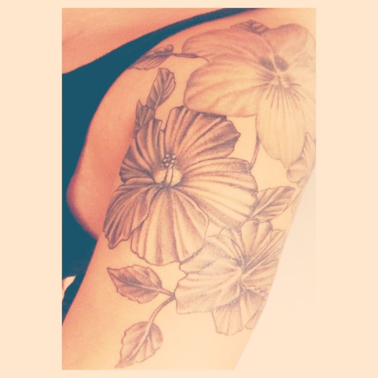 December Birth Flower Tattoo Black And White: Quarter Sleeve Of White Violet Flowers