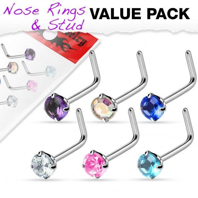 Set van 6 neuspiercings met ronde kristallen