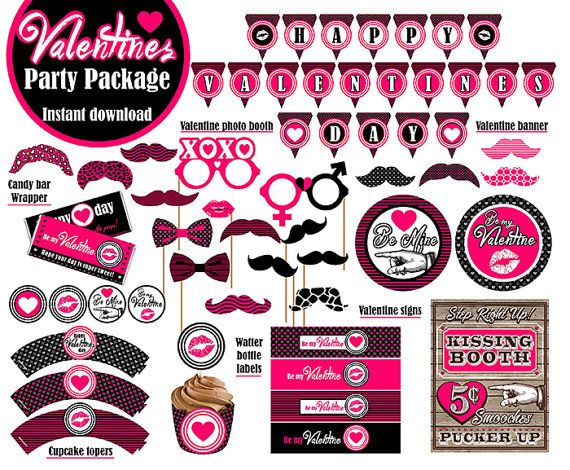 Valentines Day Pink Party Package Digital By