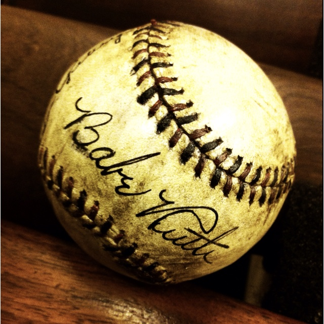Lot#400 - April 17th auction - Authenticated  Lou Gehrig and Babe Ruth autographed baseball.