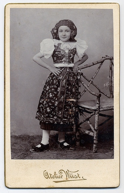 Girl In The Moravian Folk Costume    This girl is dressed in the folk costume of the moravian region Haná.   Photographic studio Wüst in Olomouc(Moravia, Czrchia). CDV circa 1900.