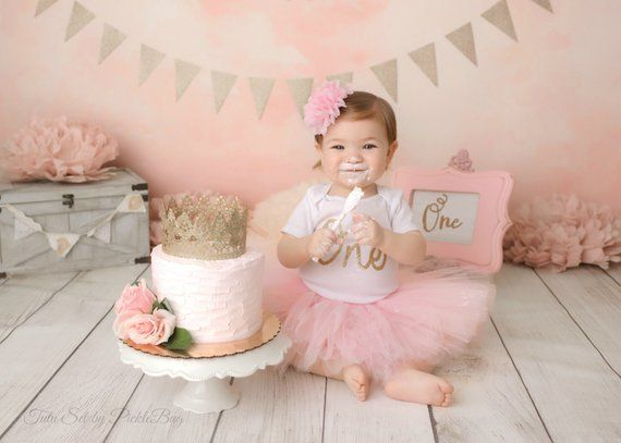 FIRST BIRTHDAY OUTFIT Girl Cake Smash Outfit Girl Pink And Gold 1st Birthday Outfit Girl Baby Girl Clothes Vintage Pink Tutu Smash Cake Girl