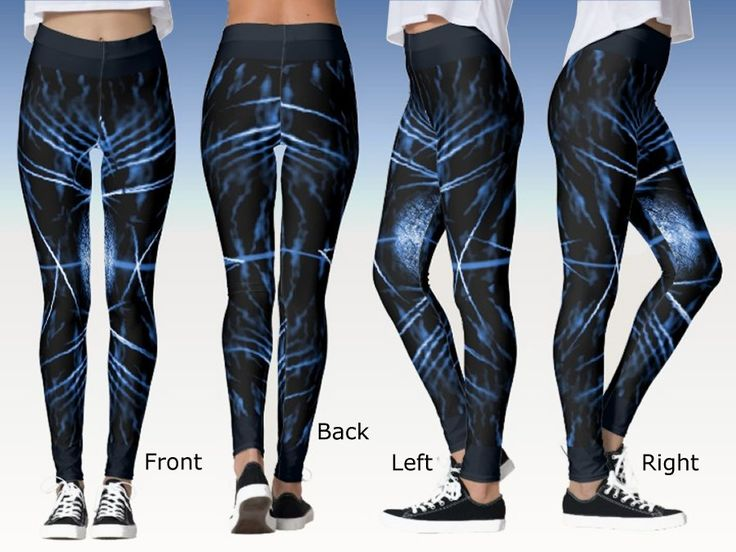 Fancy Midnight Blue Leggings with a Spiny Digital Art Image