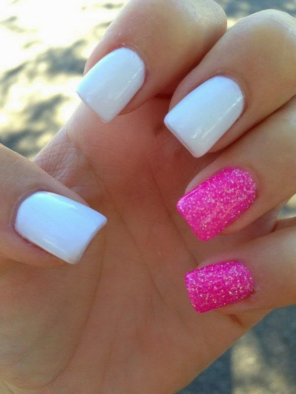Simple Hot Pink & White Glitter Nail Design.